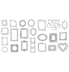 Doodle frames hand drawn frame square borders vector