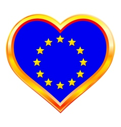 EU flag in heart vector image