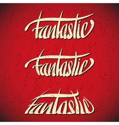Fantastic greetings hand lettering set vector image