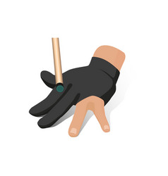 flat hand in billiard glove with cue stick vector image
