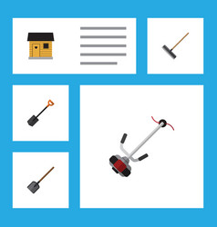 Flat icon garden set of stabling harrow grass vector