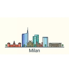 Flat line Milan banner vector image