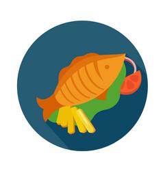 Flat style roast fish icon vector