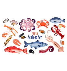 fresh seafood icon set products for restaurant or vector image
