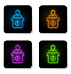 glowing neon information desk icon isolated on vector image