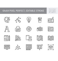 graphic design line icons vector image