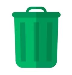 Green garbage bin vector image