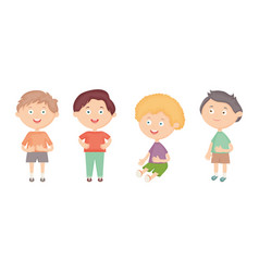 group little boys characters vector image