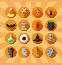 halloween circle flat icons set orange background vector image