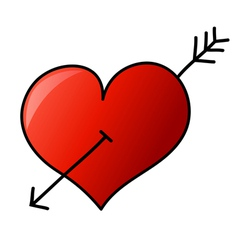 Hand drawn heart with arrow vector image