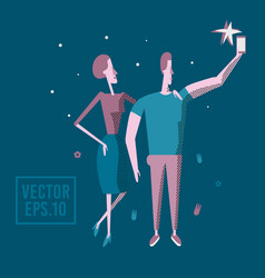 happy couple are take selfie man and woman are vector image