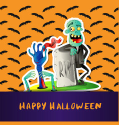 happy halloween poster with cute zombie vector image
