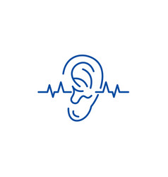 Hearing test line icon concept hearing test flat vector