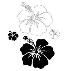 Hibiscus silhouettes vector