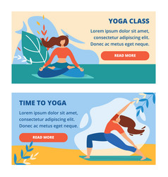 Horizontal banners set with outdoor yoga class vector