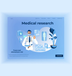 Human health medical research design landing page vector