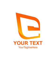initial letter c logo template colored orange vector image