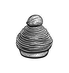 Ink sketch mont blanc dessert vector