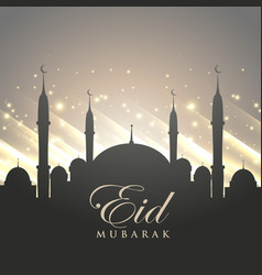 Islamic eid festival greeting with mosque vector