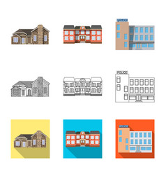 Isolated object of building and front sign set of vector