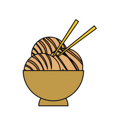 Japanese food with chopsticks vector