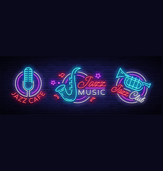 Jazz music collection neon signs symbols vector