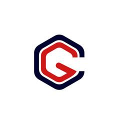 letter gc hexagon business logo design vector image