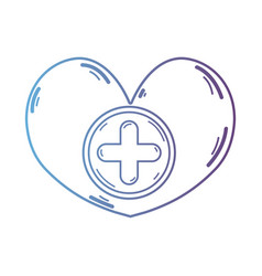 line heart medicine symbol to help the people vector image