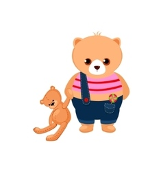 Little Bear Cub holding a Teddy Toy vector