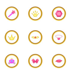 little princess icons set cartoon style vector image vector image