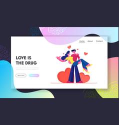 loving couple romantic relations website landing vector image