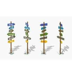 Low poly wooden signpost with the colorful arrows vector image