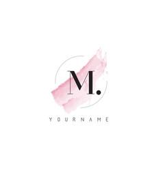 M letter logo with pastel watercolor aquarella vector