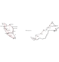 Malaysia Black White Map vector