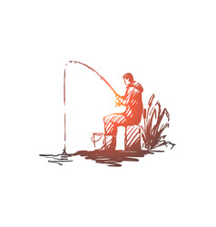 man fishing hobby leisure rod concept vector image