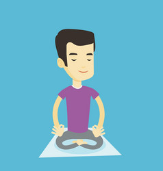 man meditating in lotus pose vector image