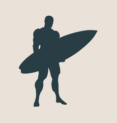 man posing with surfboard vector image