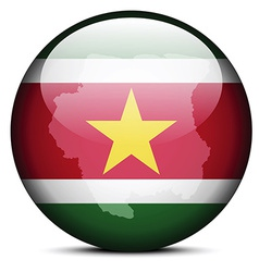 Map on flag button of Republic Suriname vector