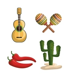 mexican culture set icons isolated vector image