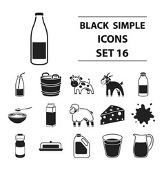 milk set icons in black style big collection milk vector image