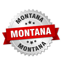 Montana round silver badge with red ribbon vector
