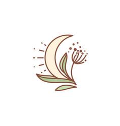 Moon on bosom plants vector