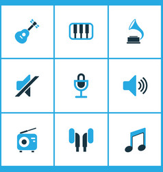 Multimedia colored icons set collection of radio vector