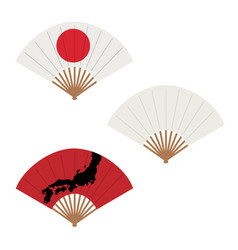 oriental japan fan set isolated on white vector image