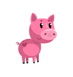 pink funny cartoon baby piglet cute little piggy vector image