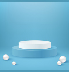 Realistic cylinder podium white and blue round vector