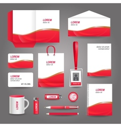 Red wavy abstract business stationery template vector image
