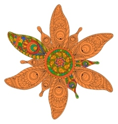 Round floral ornament made of baked clay vector