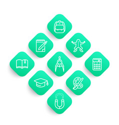 school line icons set college graduation vector image