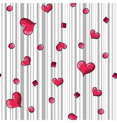 Seamless with hand-drawn hearts and grey stripes vector image